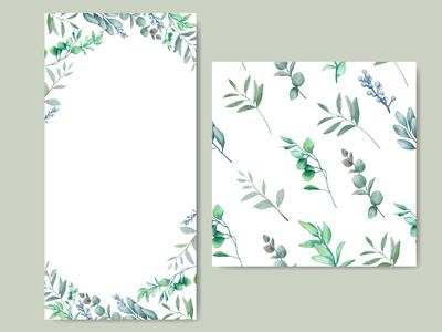 Elegant wedding invitation with leaves background seamless