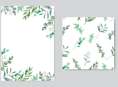 Beautiful wedding invitation with leaves background seamless