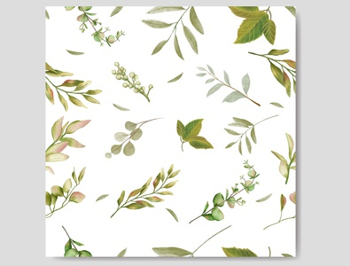 Decorative wedding invitation with leaves background seamless