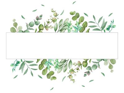 Romantic leaves frame wedding invitation
