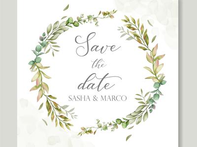 Beautiful floral frame wedding invitation