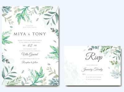 Wedding invitation & reservation card with leaves bundle