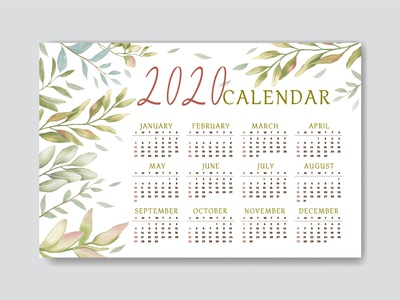 Floral design calendar 2020