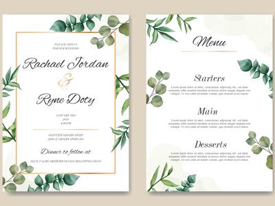 Romantic wedding invitation & menu template
