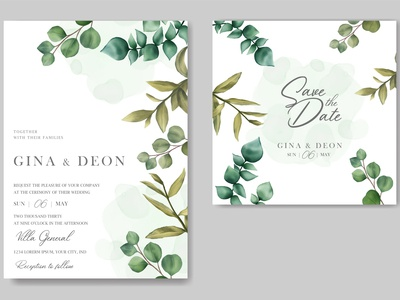 Beautiful wedding invitation with save date card