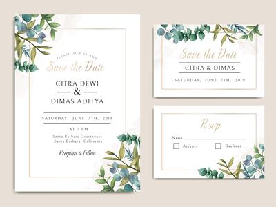 Vintage wedding invitation card with leaves bundle