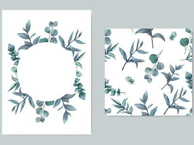 Beautiful wedding invitation template with blue leaves