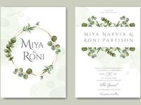 Greenery wedding invitation with eucalyptus