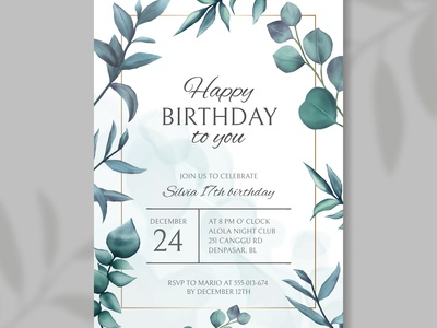 Happy birthday invitation with leaves