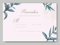 Elegant wedding invitation with leaves