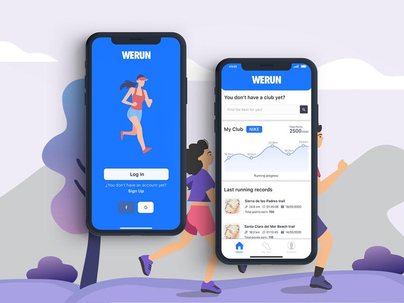 Running app illustration app minimal ux flatdesign flat uidesign ui design