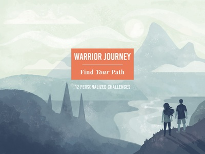 Warrior Journey Branding cover art mountain illustration view vista hiking mountains