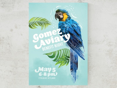 Gomez Aviary Poster for ASU GIT 230 parrot rescue photoshop poster designer parrot poster design