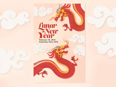 Lunar New Year Poster illustrator chinatown chinese dragons chinese dragons chinese new year lunar new year