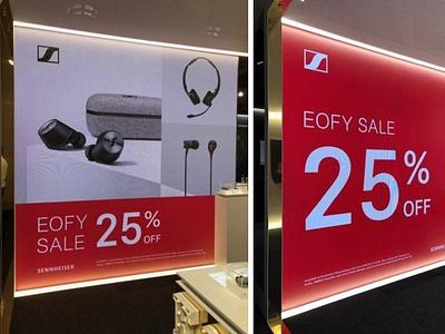 Sennheiser EOFY Sale Campaign retail design digital signage design retail signage store signage graphic design