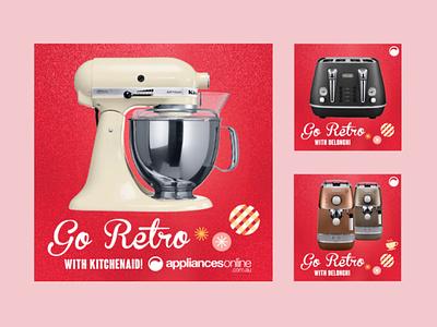 Appliances Online Go Retro Campaign retail design campaign design christmas facebook ads social media digital signage graphic design