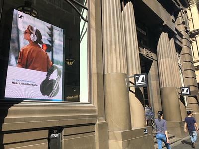 Sennheiser MOMENTUM Wireless Launch Sydney digital design store signage campaign design digital signage design retail design graphic design