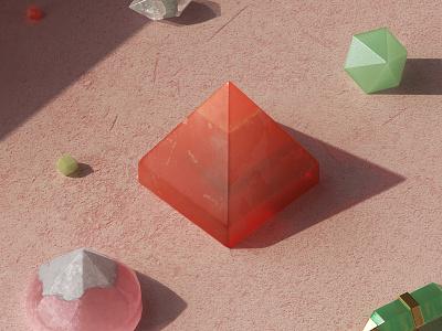 Crystal Mama substance painter jewel pyramid pink crystal 3d modeling redshift set design product design render product set maxon design cinema4d cgi c4d 3d