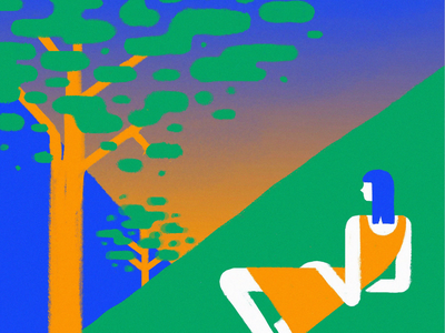 Contemplatig Nature trees traditional animation wind cel animation frame by frame motion animation loop girl illustration art drawing draw illustration