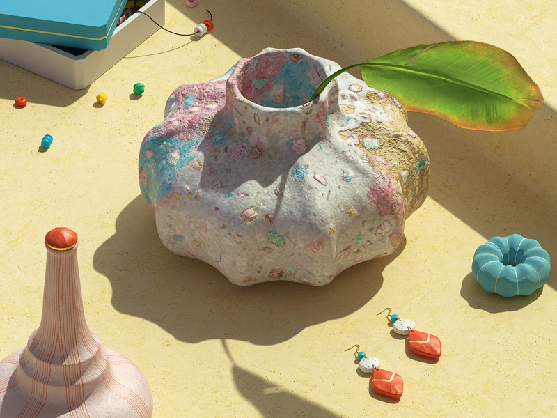 Collecting Pretty Things 3d design pottery 3d modeling zbrush substance painter set design set product maxon redshift digital art render design cinema4d c4d cgi 3d