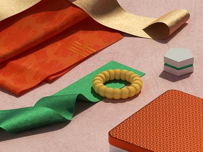Clothes pink marvelous designer substance painter gold kimono red product design product set redshift maxon digital art design render cinema4d cgi c4d 3d