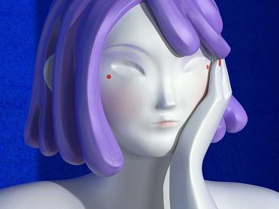 Contemplative substance painter purple hair 3d sculpting sculpting zbrush girl 3d character 3d artist character design character redshift maxon c4d render digital art illustration cinema4d cgi design 3d