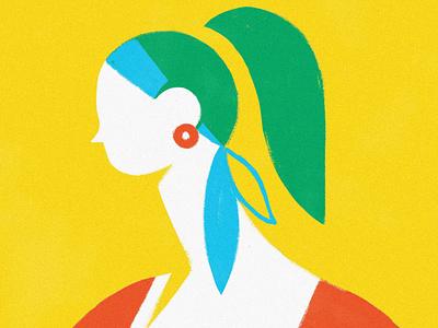 Breeze geometric minimal traditional animation hair wind frame by frame framebyframe cel animation drawing draw loop girl digital art illustration design