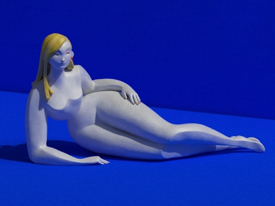 Just laying here 3d art blue 3d modeling 3d girl substance painter zbrush 3d sculpting 3d character character design digital art illustration set redshift maxon girl render cinema4d c4d cgi 3d
