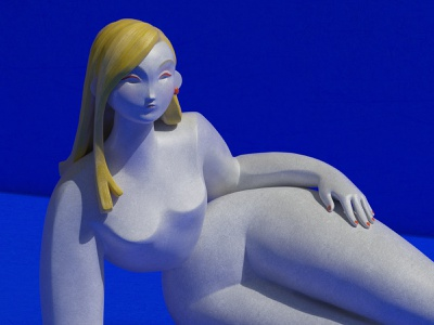 Just laying here 3d art blue 3d modeling 3d girl substance painter zbrush 3d sculpting 3d character character design digital art illustration set redshift maxon girl render cinema4d c4d cgi 3d