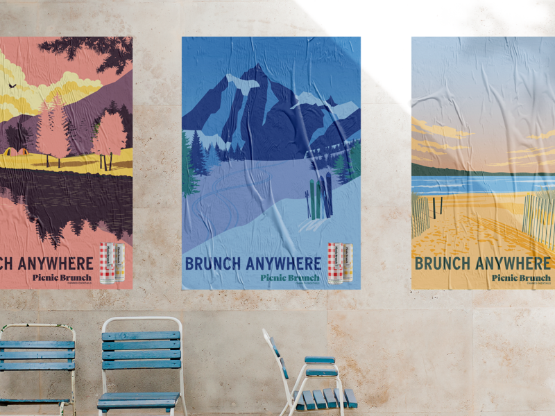 Picnic Brunch posters poster beverage alcohol cans cocktail canned cocktail branding