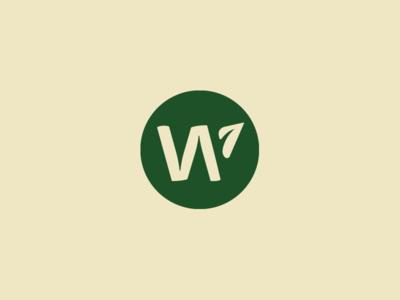W mark plant growth leaf w branding icon logo