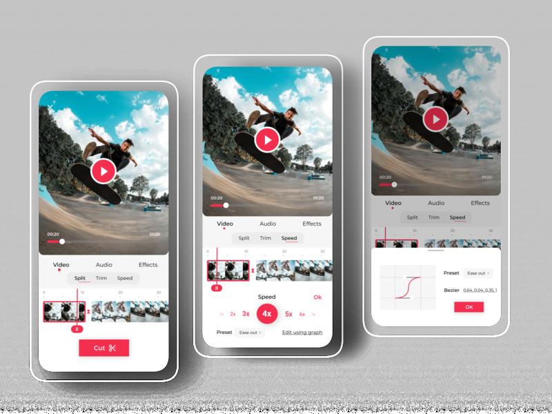 Tik Tok App - Slowmo feature mobile app editorial design video tiktok animation branding illustration ui product design design app
