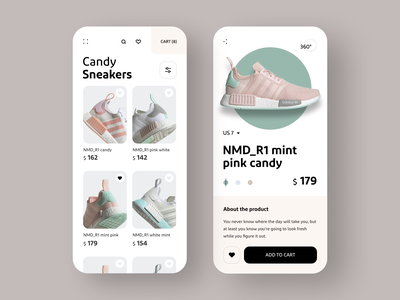 Candy Sneakers 插图 white pink mint adidas shoes flat clean minimalistic minimal shop product sneakers ux ui app design design app