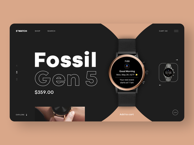 s'watch shop klein slider fashion outlines minimal website flat clean ui minimalistic shop watches dark design 插图 ux ui smartwatch products webdesign web