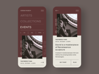Odessa Museum 插图 klein exhibition collections events artist gallery ticket simple art ux ui minimal mobile minimalistic flat clean design app museum