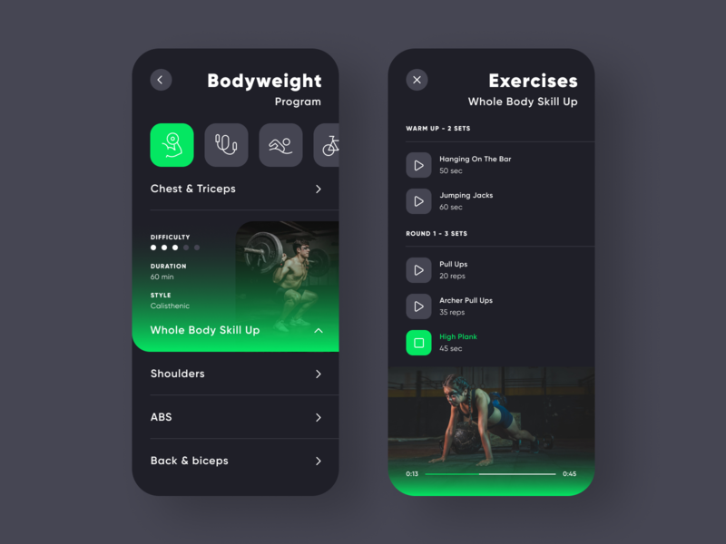 Green Point Fitness 插图 ux ui klein simple mobile green toxic gradient flat design minimalistic clean plan program bodybuilder exercise gym fitness app