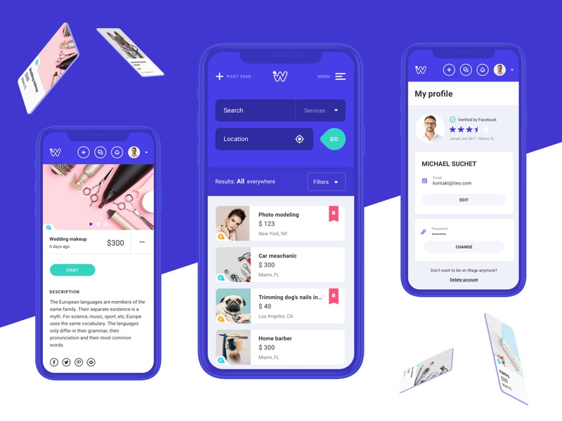 Wage app - Account wage search filters account profile dashboard ui blue 插图 mobile design app ui app