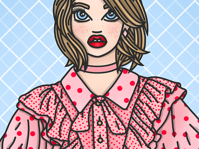 Dotty for Love romantic red lipstick freckles polka dots valentines day valentines illustration fashion illustrator fashion illustration candy doll club