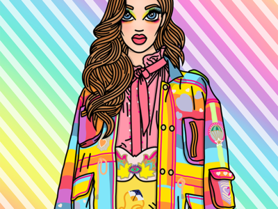 She's like a Rainbow couture fashion rainbow sweet illustration fashion illustrator fashion illustration candy doll club