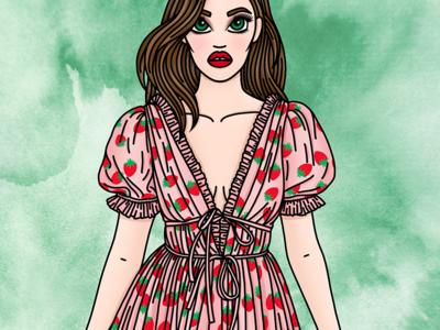 Lirika Matoshi illustration sweet pinup fashion illustrator fashion illustration candy doll club