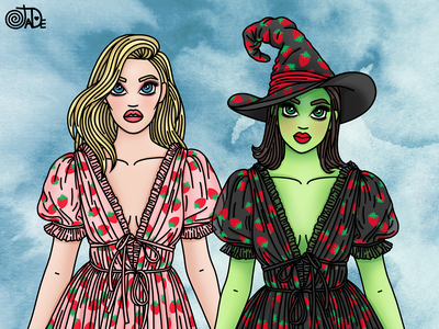 Wicked Strawberries fashion illustrator fashion illustration candy doll club wizard of oz elphaba glinda wicked