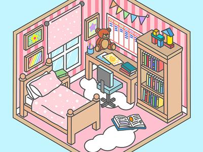 Pastel Room apple pencil ipad pro adobe draw books pastel kids room isometric design isometric isometric art
