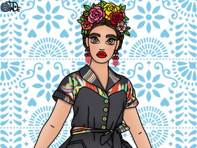 Mexicana illustration frida kahlo frida folk art fashion illustrator fashion illustration candy doll club