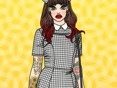 Gingham Girl fabric gingham fashion fall autumn illustration tattoos fashion illustrator fashion illustration candy doll club