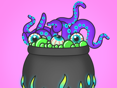 Hubble bubble toil and trouble eyeballs tentacles witch witchy cauldron spooky halloween halloween design