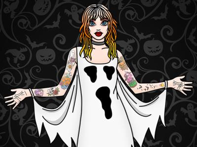 Ghostie Girl samhain creepy spooky ghost candy corn tattoos fashion illustrator pastel hair fashion illustration candy doll club