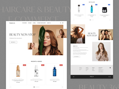 Beauty 365. Hair care & beauty e-commerce products hair care minimal design branding typography beauty ecommerce website ui ux ux ui design