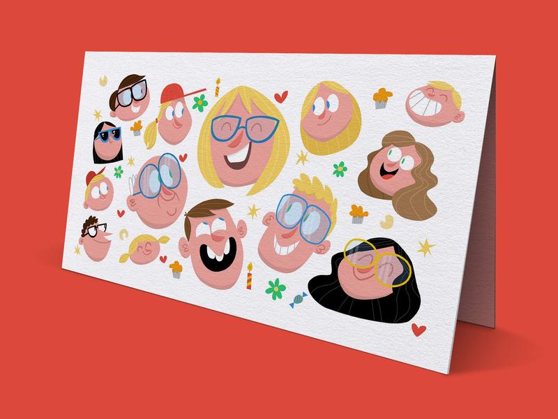 Family Birthday Card flatdesign happy illustrator adobeillustrator vector character cartoon illustration children characterdesign family birthday card