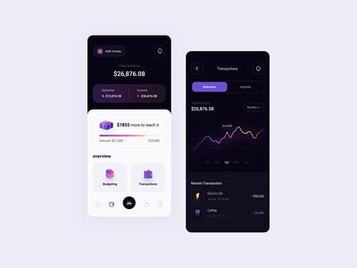 Cashback app 3d gradient chart dark wallet fintech money interface mobile figma concept cashback design app ux ui