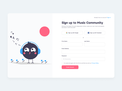 Sign up | Daily UI 001 ui registration page registration form signupform sign up form flat dailyuichallenge minimal signup dailyui